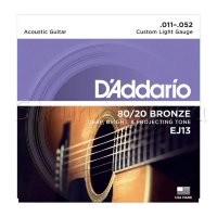 D'Addario EJ13 80/20 Bronze Custom Light Acoustic Guitar Strings 11/52