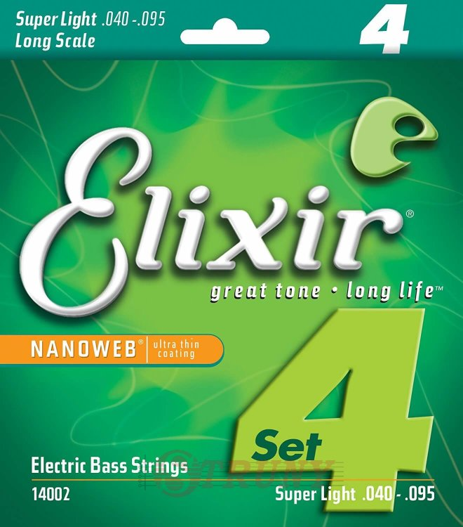 Elixir 14002 Nanoweb Coated Nickel Plated Steel Super Light Long Scale 4-Strings 40/95