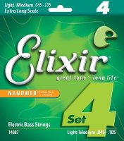 Elixir 14087 Nanoweb Coated Nickel Plated Steel Light-Medium Extra Long Scale 4-Strings 45/105