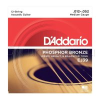 D'Addario EJ39 Phosphor Bronze Medium Acoustic Guitar 12-Strings 12/52