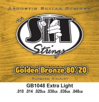SIT GB1048 Extra Light 80/20 Bronze Acoustic Guitar Strings 10/48