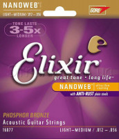Elixir 16077 Nanoweb Phosphor Bronze Acoustic Light-Medium 12/56