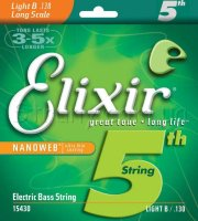 Elixir 15430 Nanoweb Coated Nickel Plated Steel Single Bass String 130 Light B